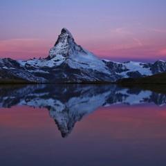 Aluminium Prints Reflection Matterhorn reflecting in Lake Stelli, Zermatt. Switzerland..