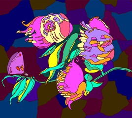 vector hand drawn flowers .