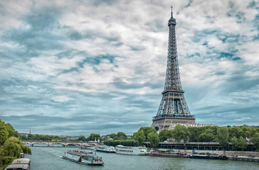 Beautiful view on the Eiffel tower in Paris - one of famous popular