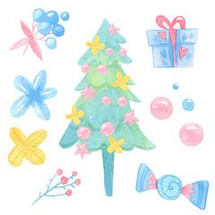 watercolor cartoon illustration. Set of elegant Christmas tree, candy, gifts, flowers, balls, berries, stars