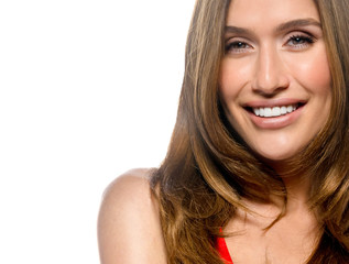 portrait of attractive  caucasian smiling young woman  isolated on white studio shot toothy smile face skin hair teeth looking at camera red dress