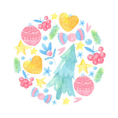watercolor cartoon illustration. New year card template. Round composition with gifts, berries, stars, fir-tree, candy, flowers, branch, toys
