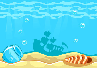 Underwater vector world background with ship, seashell and an aquarium