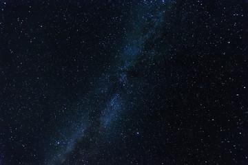Starry sky, milky way, beautiful landscape, night time, Belarus.