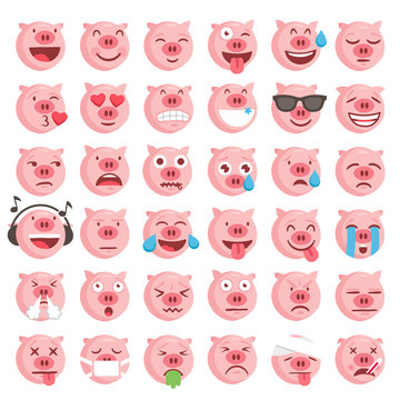 36 Vector Pig Emoticons Collection
