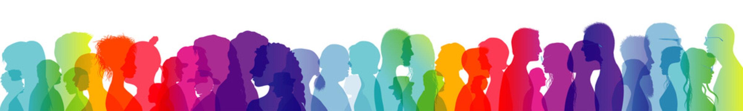 Talking crowd. Dialogue between people. People talking. Colored silhouette profiles. Multiple exposure