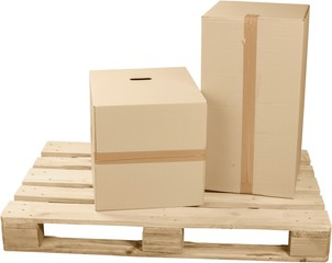 Cardboard Boxes On Top Of Wooden Shipping Pallet - Isolated