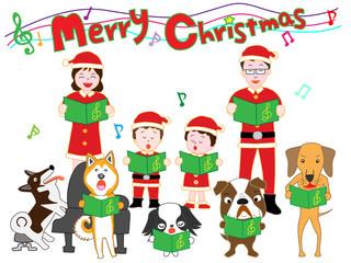 家族と犬のクリスマスコンサート