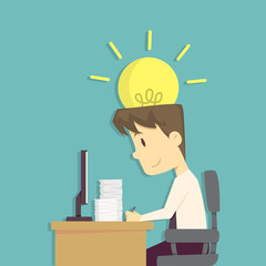 Businessman use brain and idea in his work.Cartoon of business success is the concept of the man characters business, the mood of people, can be used as a background, infographic. vector illustration