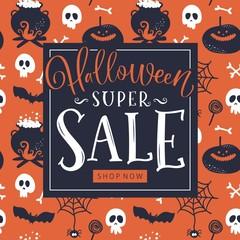 Halloween Sale banner. Vector illustration.