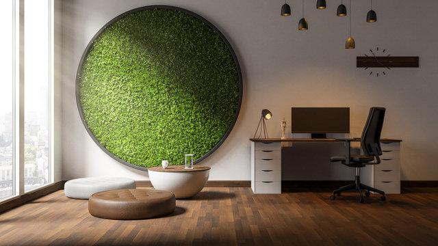 Moderne Arbeitszimmer mit Pflanzenwand