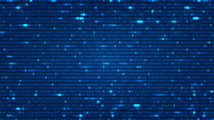 Abstract background with program computer code. Data backdrop with Blur Effect. Vector Illustration with concept of Programming. Technology Algorithm in Decryption and Encryption. Coding concept.
