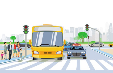 Straßenverkehr mit Fußgänger und Fußgängerüberweg