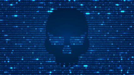 ASCII Art background with hacker skull. Data backdrop with Blur Effect, program computer code. Vector Illustration with concept of Hacking. Banner with Ddos-attack, Spam and Computer Virus Concept.