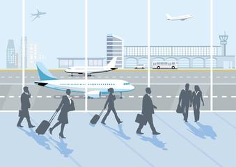 Flughafenhalle, mit Personen und Gepäck