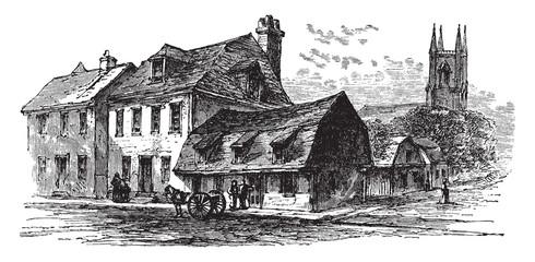 Old Houses in Newport vintage illustration.