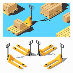 Pallet Truck. Storage Equipment Isometric Icon Set.