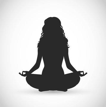 Woman with long hair meditation vector illustration