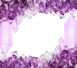 frame from lilac amethyst large crystals on white