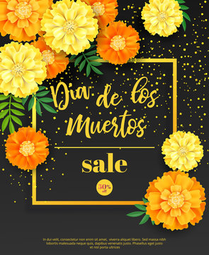 Festive flyer of Day of the Dead sale. Dark background with yellow marigold and golden confetti. Vector illustration for seasonal discount offer.
