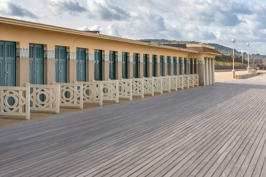 French landscape - Normandie. The promenade of Deauville in autumn.