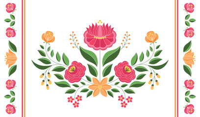 Hungarian folk pattern vector. Kalocsa embroidery floral ethnic ornament. Slavic eastern european print. Vintage traditional flower design for gypsy lumbar pillow case, bohemian rug, table runner.