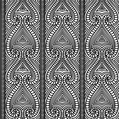 Maori tribal pattern vector seamless. African fabric print. Ethnic polynesian aboriginal art. Mexican monochrome background for boho textile blanket, wallpaper, wrapping paper and backdrop template.