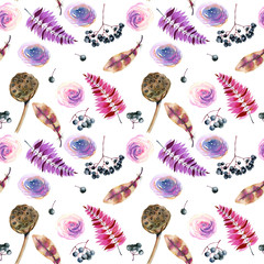 Seamless pattern with watercolor feathers, roses, berries and lotus boxes, hand painted on a white background
