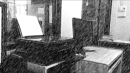 Photo Sketches Make a drawing mood with a wooden pencil,Media in office concept in office Working atmosphere