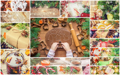 collage of Christmas pictures. Seasons. Selective focus.