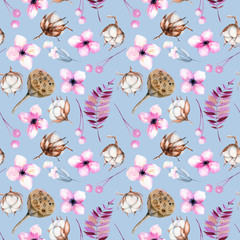 Seamless pattern with watercolor cotton flowers, pink florals and lotus boxes, hand painted on a blue background