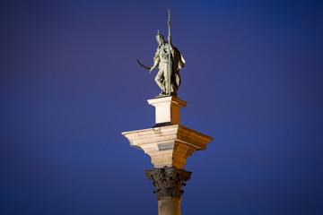 King Sigismunds Column in Warsaw city at night, Poland