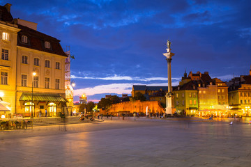 The Royal Castle  square and King Sigismunds Column in Warsaw city at night, Poland