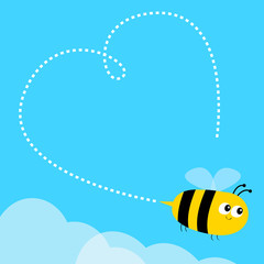 Flying bee icon. Dash line heart. Big eyes. Happy Valentines Day. Cute cartoon funny baby caharacter. Flat design. Blue sky background. White cloud.