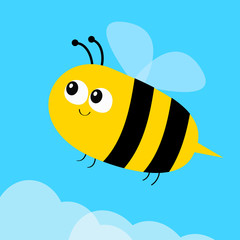 Flying bee icon. Big eyes. Cute cartoon funny baby caharacter. Flat design. Blue sky background. White cloud.