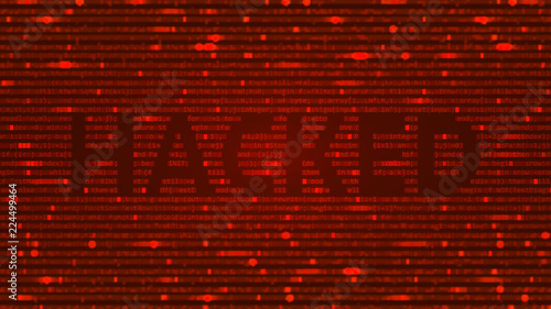 ASCII Art background with word hacked  Data backdrop with
