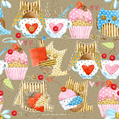 seamless pattern with cute owl. Funny bird and cupcakes watercolor background.