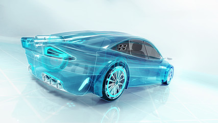 technological study of new futuristic car , 3D conceptual rendering, my own car design