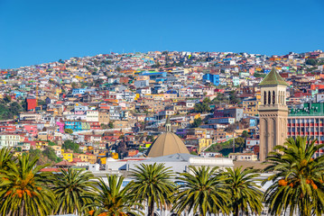 Colorful houses on a hill of Valparaiso, Chile