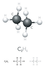 Ethane, C2H6, molecule model and chemical formula. Organic chemical compound. Colorless gas. Ball-and-stick model, geometric structure and structural formula. Illustration on white background. Vector.