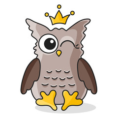 Brown owl with crown isolated on white