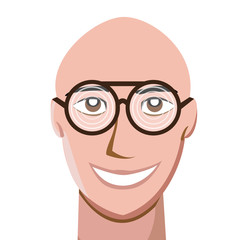 Portrait of happy bald man wearing thick spectacles and looking at camera. Vector illustration