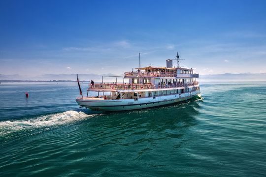 Ferry on Lake Constance on a sunny day