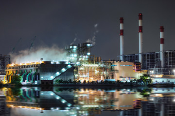 Stream from cooling in Power plant or Power house for electric energy concept background.