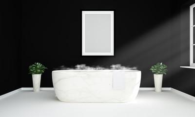blank poster mockup on bathroom
