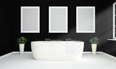 black and white bathroom with three blank hanging posters mockup
