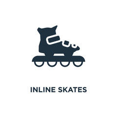 Inline skates icon. Black filled vector illustration. Inline skates symbol on white background.