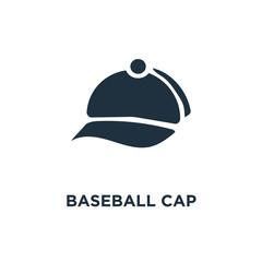 Baseball cap icon. Black filled vector illustration. Baseball cap symbol on white background.
