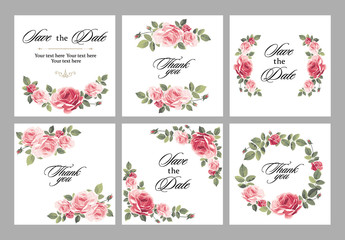 Set invitation vintage card with roses and antique decorative elements.