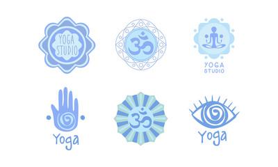 Vector set of original logos for yoga studio or meditation center. Healthcare and harmony theme